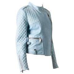 Barbara Bui Blue Coated Leather Jacket - Size US 6