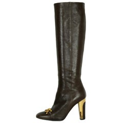 Barbara Bui Brown Leather Knee High Boots w/ Gold Chain & Heels sz 37