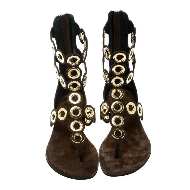 6119ea542 Barbara Bui Brown Suede Eyelet Detail Flat Thong Sandals Size 37 For Sale.  Trendy and oh so stylish