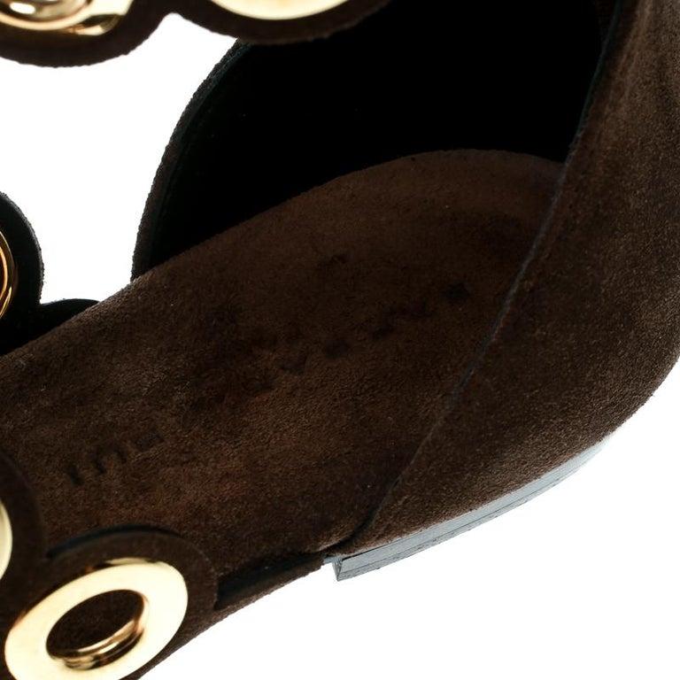 b9212efe2 Barbara Bui Brown Suede Eyelet Detail Flat Thong Sandals Size 37 For Sale 2