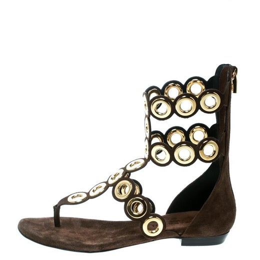 7ebf2902f Barbara Bui Brown Suede Eyelet Detail Flat Thong Sandals Size 37 For Sale  at 1stdibs