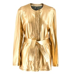 Barbara Bui Gold Lame Belted Leather Jacket Size 38