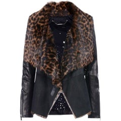 Barbara Bui Leopard-Print Shearling and Leather Biker Jacket
