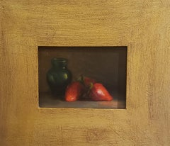 Luscious Strawberries ,Still-life,  Florence, Realism, Oil Painting.