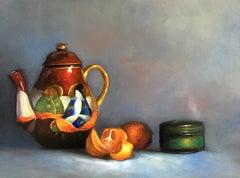 Teapot & Oranges, Still-life, Italian artist, Florence, Realism, Oil Painting.