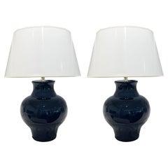 Barbara Cosgrove Navy Blue Ceramic Lamps, a Pair