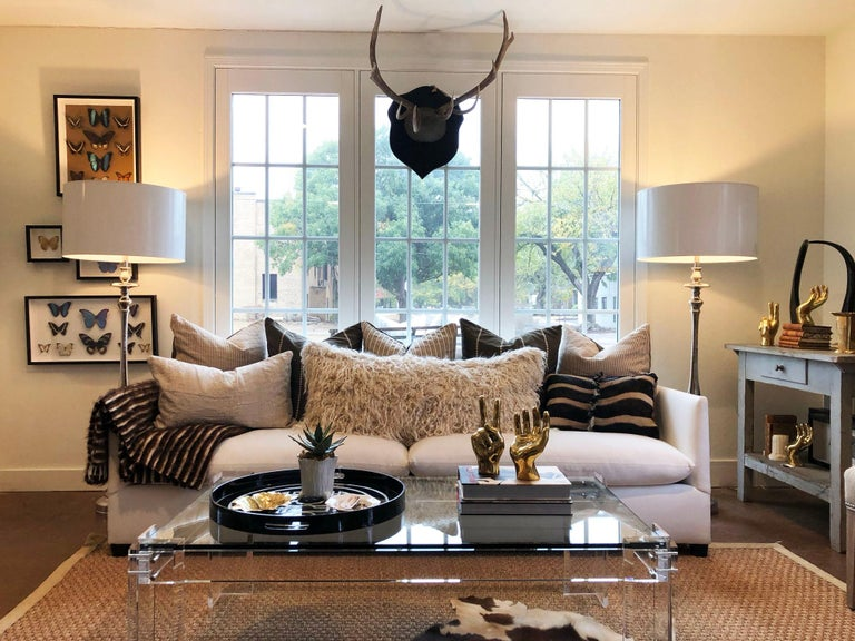 A pair of beautiful transitional nickel floor lamps by Barbara Cosgrove. White paper shades included.