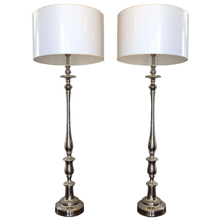 Barbara Cosgrove Nickel-Plated Floor Lamps with Shades, a Pair