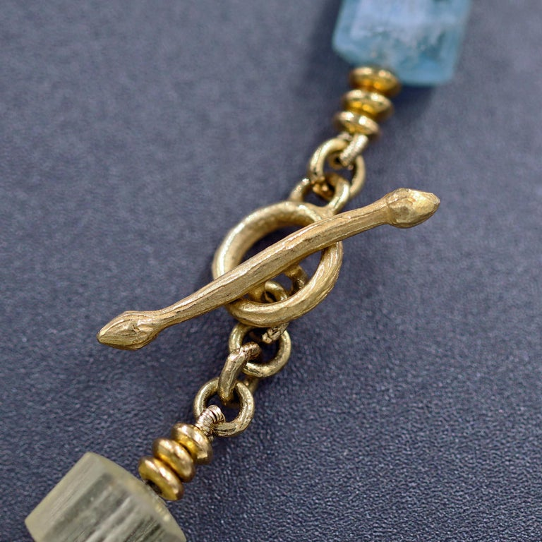 Artisan Barbara Heinrich Aquamarine Beryl Crystals Gold Tube Necklace For Sale