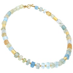 Barbara Heinrich Aquamarine Beryl Crystals Gold Tube Necklace