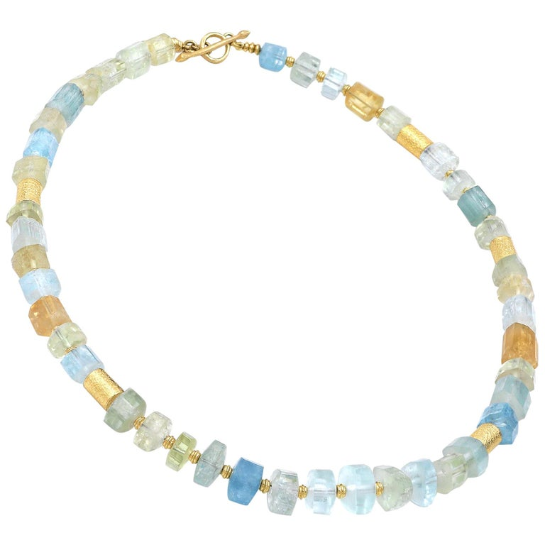 Barbara Heinrich Aquamarine Beryl Crystals Gold Tube Necklace For Sale