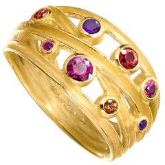 Barbara Heinrich Bright Multicolored Sapphire Open Wrap Gold Band Ring