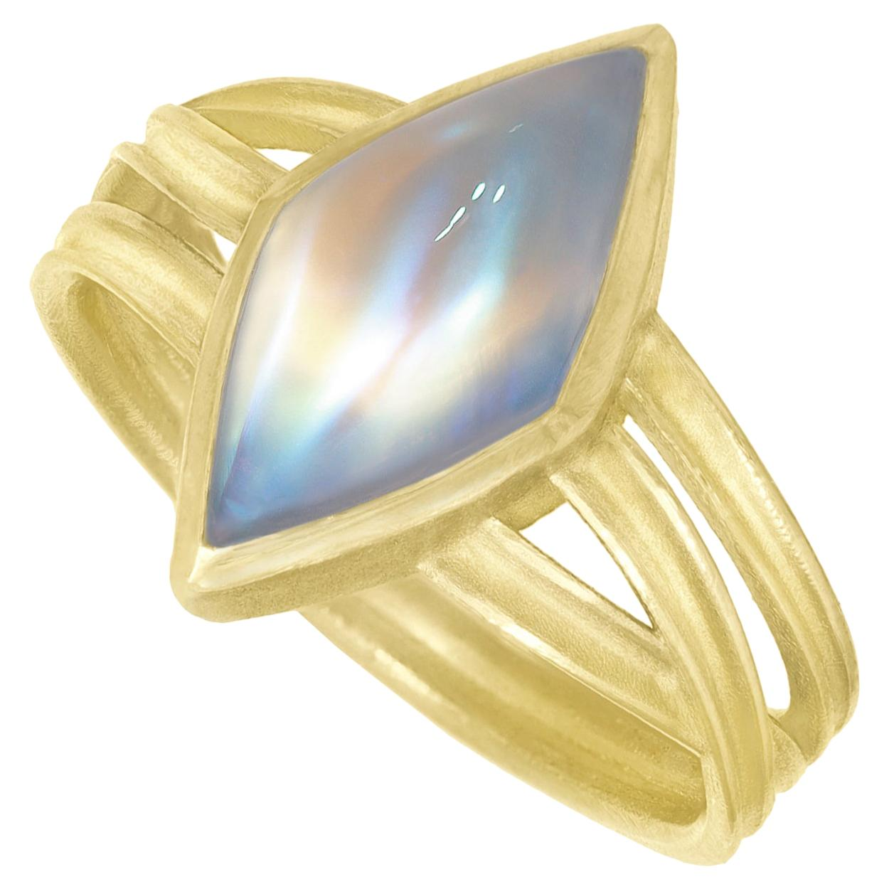 Barbara Heinrich Ethereal Rainbow Moonstone Gold Ribbon Wrap One of a Kind Ring