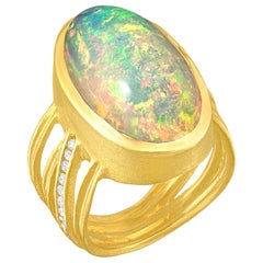 Barbara Heinrich Exceptional Ethiopian Opal White Diamond Multiwrap Band Ring