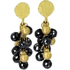 Barbara Heinrich Faceted Black Diamond Briolette Petal Top Dangle Drop Earrings