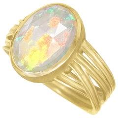 Barbara Heinrich Fiery Faceted Ethiopian Opal Multiwrap Gold Ring