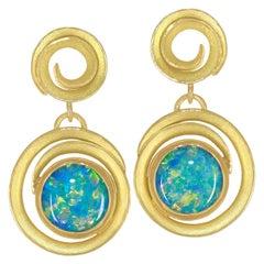 Barbara Heinrich Fiery Round Opal Doublet Double Swirl Dangle Drop Earrings