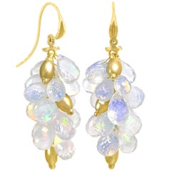 Barbara Heinrich Fine Ethiopian Opal Faceted Briolette Gold Dangle Drop Earrings