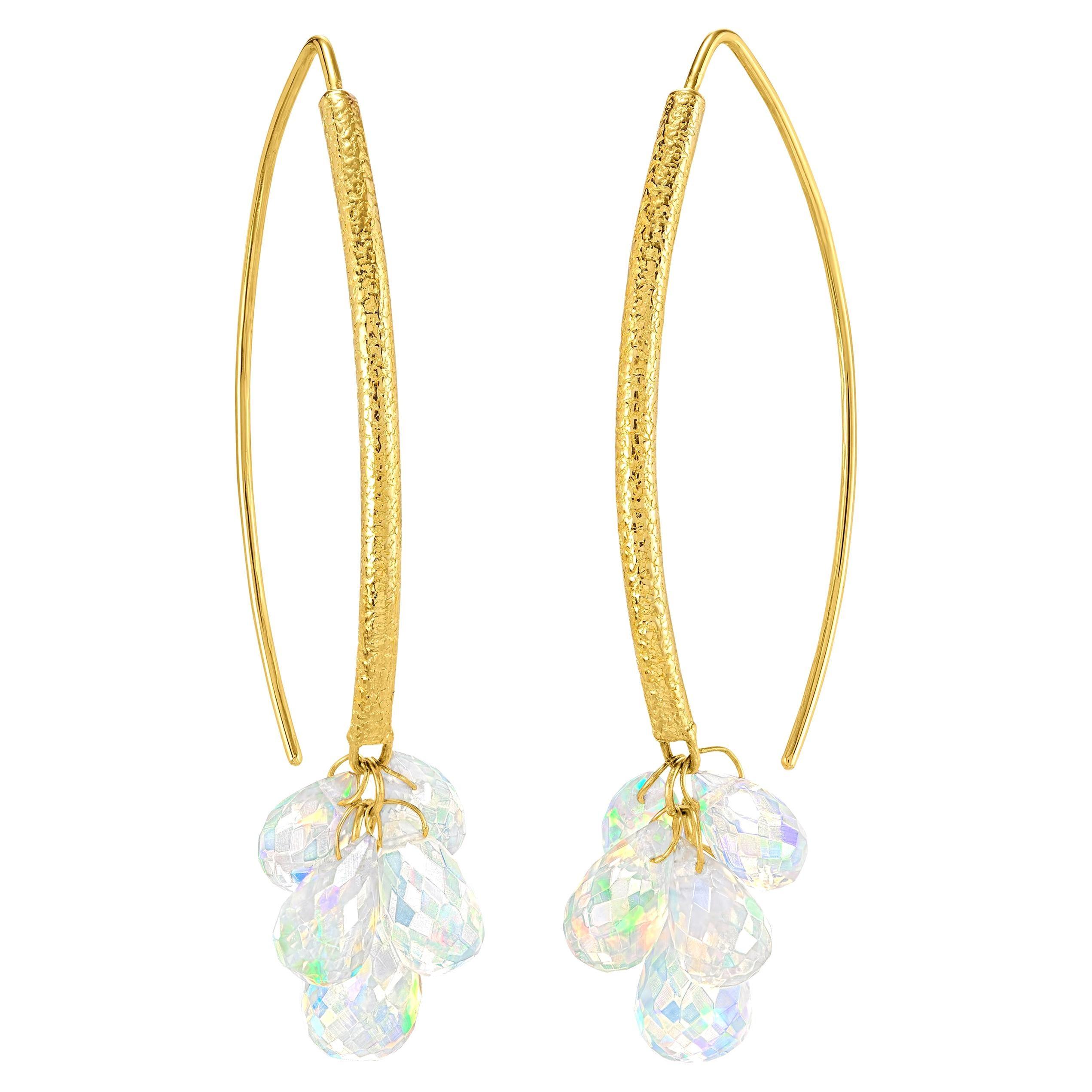 Barbara Heinrich Fine Ethiopian Opal Faceted Briolette Gold Dangle Drop Earrings