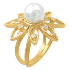 Barbara Heinrich Iridescent White Pearl White Diamond One of a Kind Daisy Ring