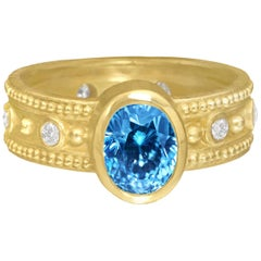 Barbara Heinrich Natural Oval Blue Zircon White Diamond Granulated Rim Ring