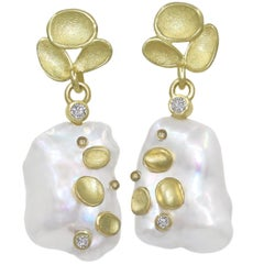 Barbara Heinrich One of a Kind Iridescent White Pearl Diamond Gold Earrings