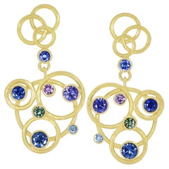 Barbara Heinrich One of a Kind Multicolored Sapphire Circle Dangle Drop Earrings