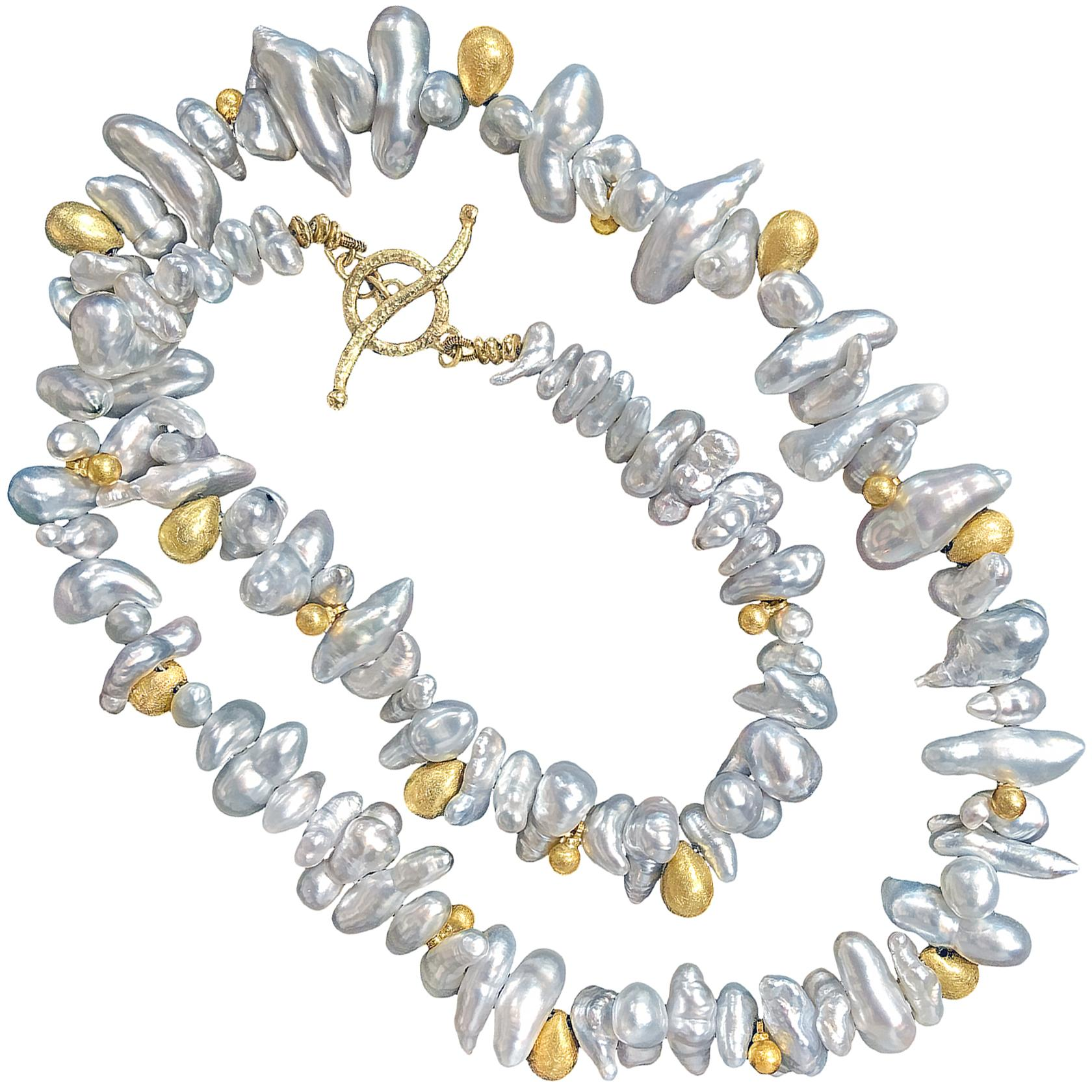 Barbara Heinrich One of a Kind Silver Keshi Pearl Gold Drops Handmade Necklace