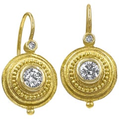 Barbara Heinrich Round Brilliant White Diamond Gold Coin Drop Earrings