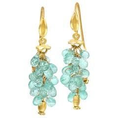 Barbara Heinrich Seafoam Emerald Faceted Briolette Gold Dangle Drop Earrings