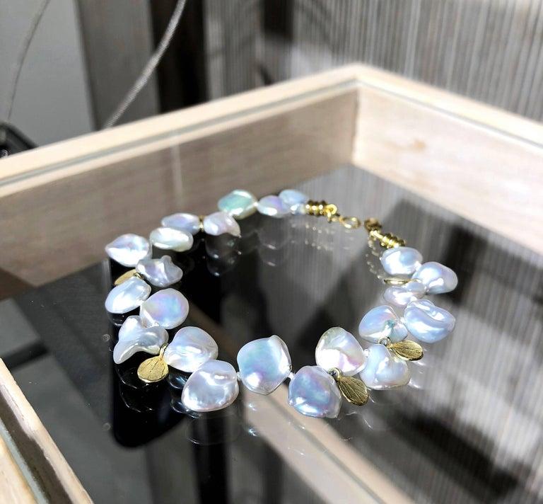 Artist Barbara Heinrich Silver Blue Keshi Pearl Gold Petals One of a Kind Bracelet For Sale