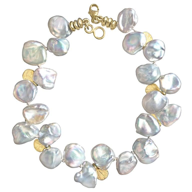 Barbara Heinrich Silver Blue Keshi Pearl Gold Petals One of a Kind Bracelet For Sale