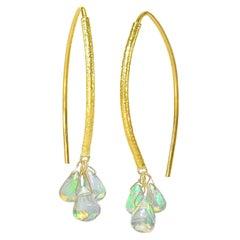 Barbara Heinrich Smooth Ethiopian Opal Briolette Gold Navette Earrings