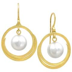 Barbara Heinrich South Sea Pearl Open Spiral Swirl Drop Earrings