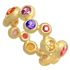 Barbara Heinrich Vibrant Multi-Color Sapphire Matte Gold Random Bubble Band Ring
