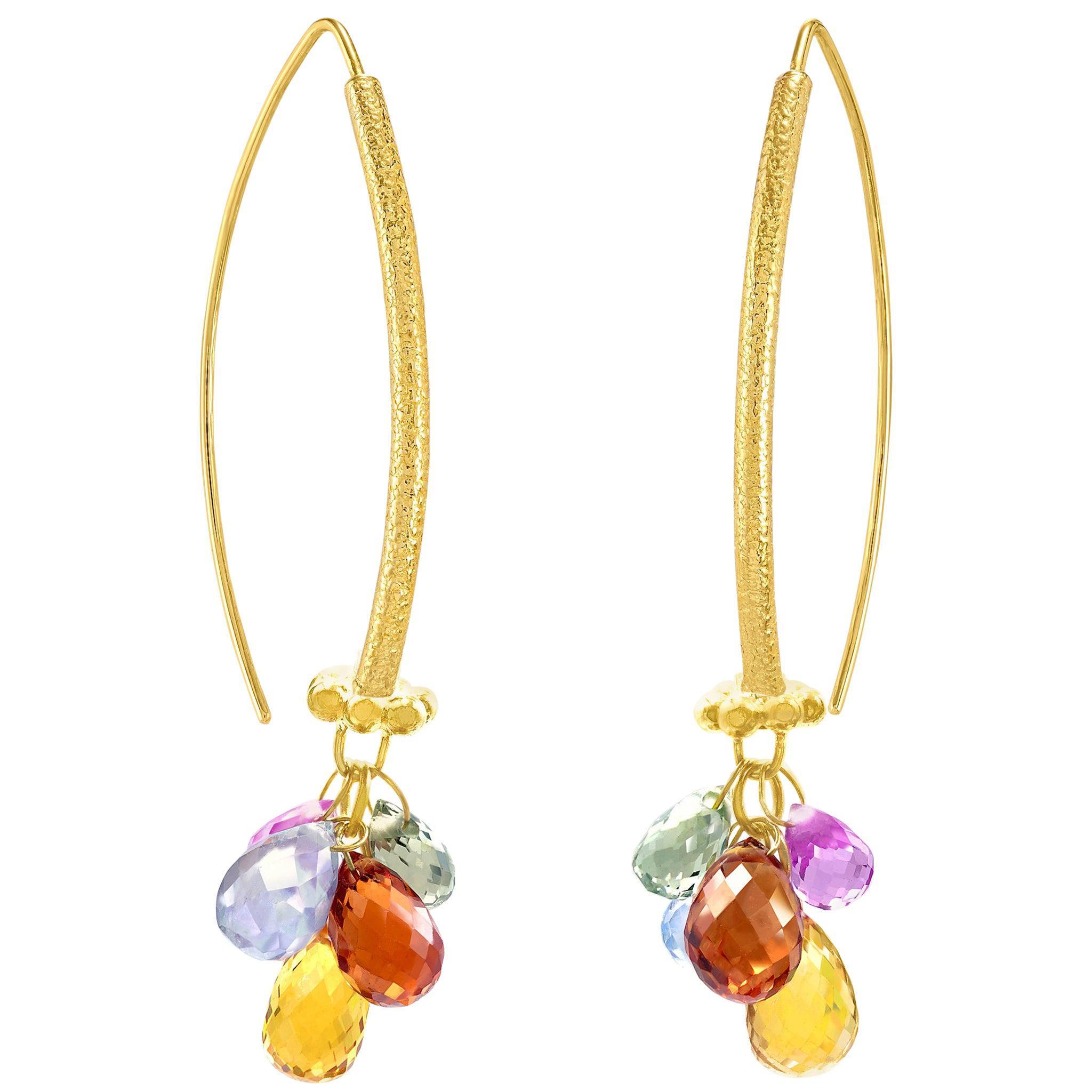 Barbara Heinrich Vivid Multi-Color Sapphire Gold Navette Drop Earrings