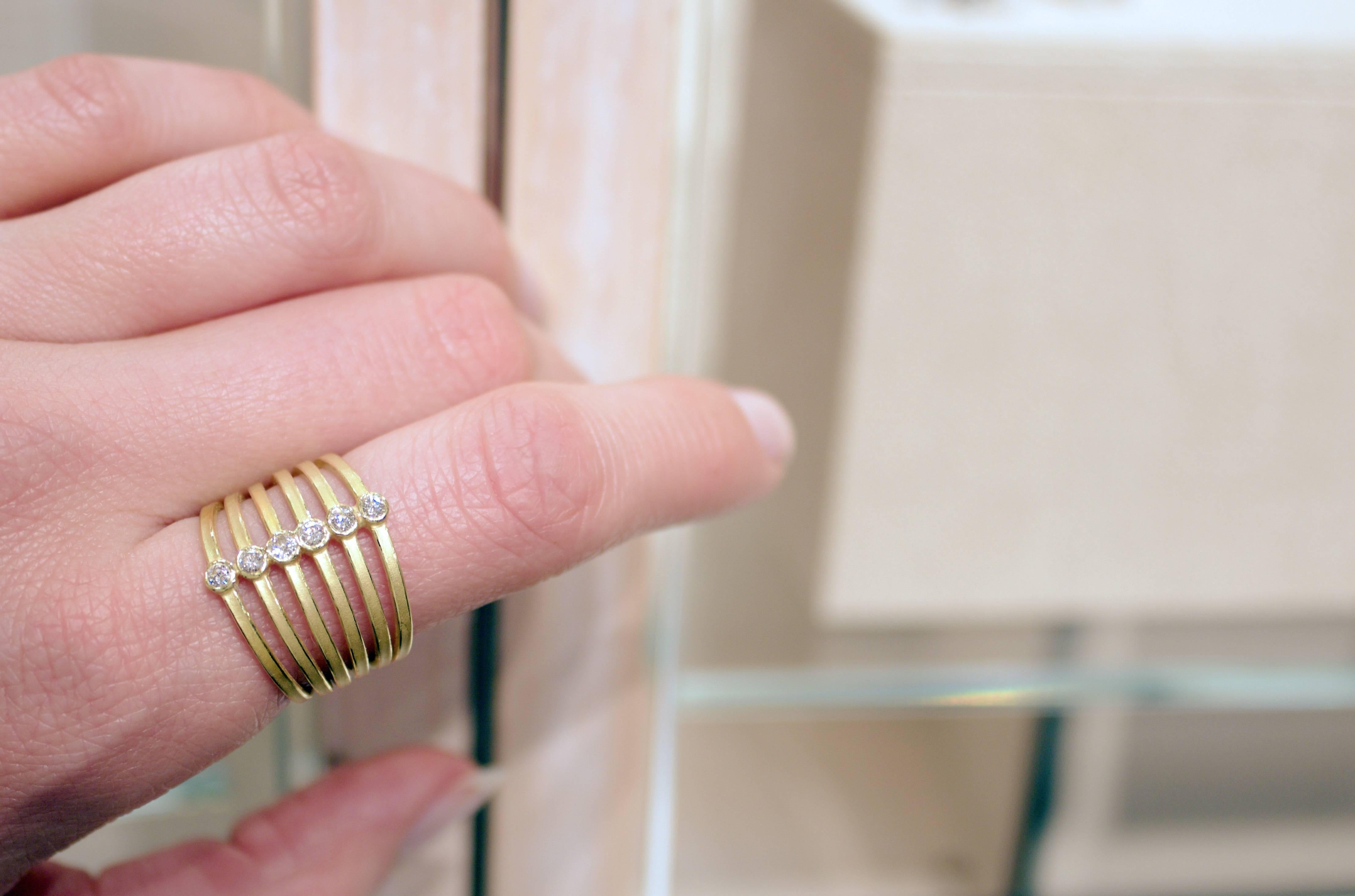 Barbara Heinrich White Diamond Gold Zipper Ring For Sale at 1stdibs