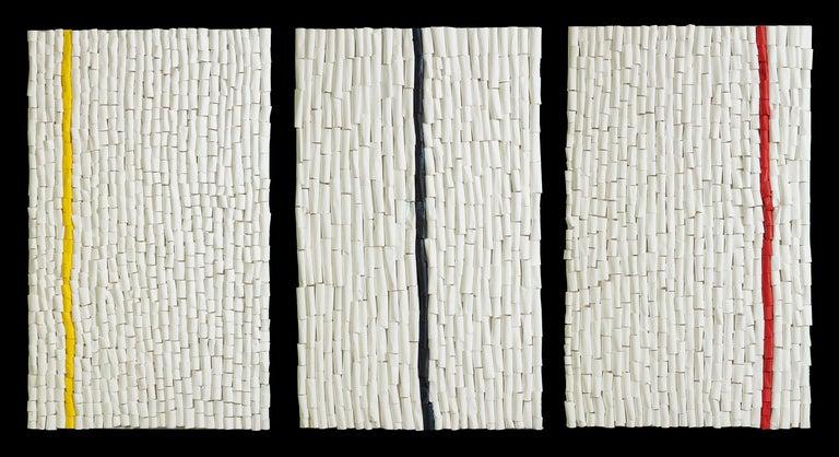 Rice paper & acrylic, Sculptural wall work, Barbara Hirsch, In Parallel - Mixed Media Art by Barbara Hirsch