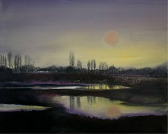 A Lake - Oil Painting, Figurative, Landscape, Colorful, Violet & yellow