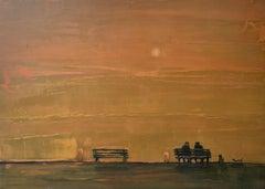 August II - Contemporary landscape oil painting, Warm tones, Orange, Horizontal