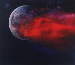 Cosmos II - XXI Century, Oil figurative painting, Space, Cosmonaut, Bright red