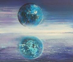 Full moon III - XXI Century, Contemporary Acrylic Painting, Landscape, Vibrant