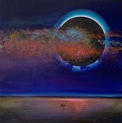Full moon V - XXI Century, Contemporary Acrylic Painting, Landscape, Vibrant
