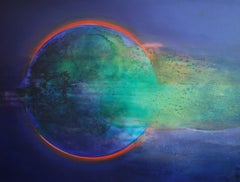 Full Moon V - XXI Century, Oil figurative painting, Blue, Space