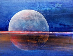 Full moon VI - Acrylic Painting, Vibrant colors, Blue & orange, Galaxy, Cosmos