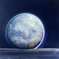 Full Moon VI - XXI Century, Oil Painting, Landscape, Sky, Cosmos, Galaxy
