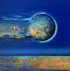 Full moon - XXI Century, Contemporary Acrylic Painting, Landscape, Vibrant
