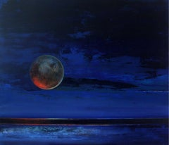 Full Moon - XXI Century, Oil figurative painting, Blue, Space