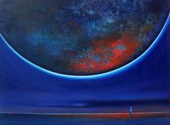 Full Moon - XXI Century, Oil figurative painting, Landscape, Sky
