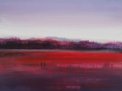 Landscape II - Acrylic Figurative Painting, Red pink & purple